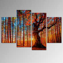 Tree with Sunset Canvas Print/Autumn Forest Wall Art Decor/Sunshine Landscape Canvas Painting
