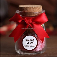 100ml mini glass candy jar with cork lid for wedding gift