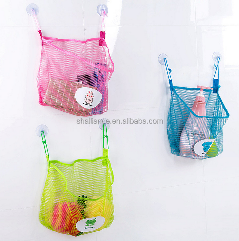 Quick drying hanging bathroom mesh bag, breathable shower bath organizer bag for shampoo and soap