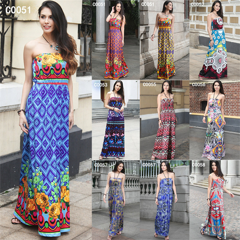 ZH0079G Summer Hot Bohemia Boob Tube Maxi Holiday Beach Dress