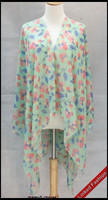 Wholesale Silk Chiffon Printed Wear Beach Wear poncho shawl