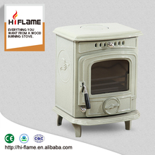 Enamel wood stove type cast iron wood burning stove with glass ceramics HiFlame HF217E