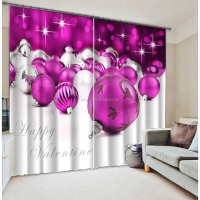 Latest window designs curtains with christmas decoration ball for valentine's day