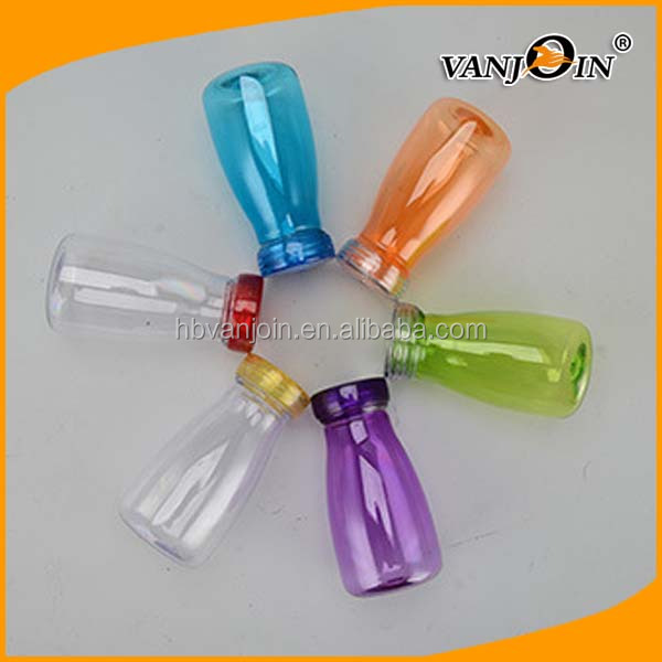 Colorful 360ML Round Plastic Milk Bottle with Straw and Lid, Plastic Juice Bottle 12oz