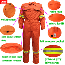flameproof fire proof safety protective clothing in <strong>orange</strong> color with reflective coverall