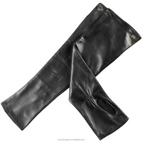 lady black long half finger leather gloves