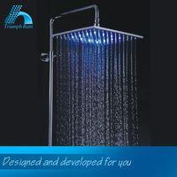 200*200*9 chrome plated brass water power LED square shower head