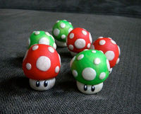 Nintendo RED and Green Mushroom Super Mario Charm Keychain Ornament Polymer Clay
