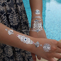 Metallic body temporary fashion tattoo henna jewelry tattoo