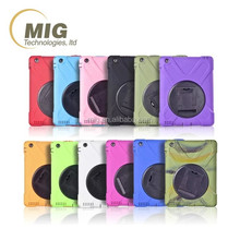 Plastic and silicone 3 in 1 style 360 Rotating Stand Case For iPad 2 3 4 5 6 Mini Shockproof case