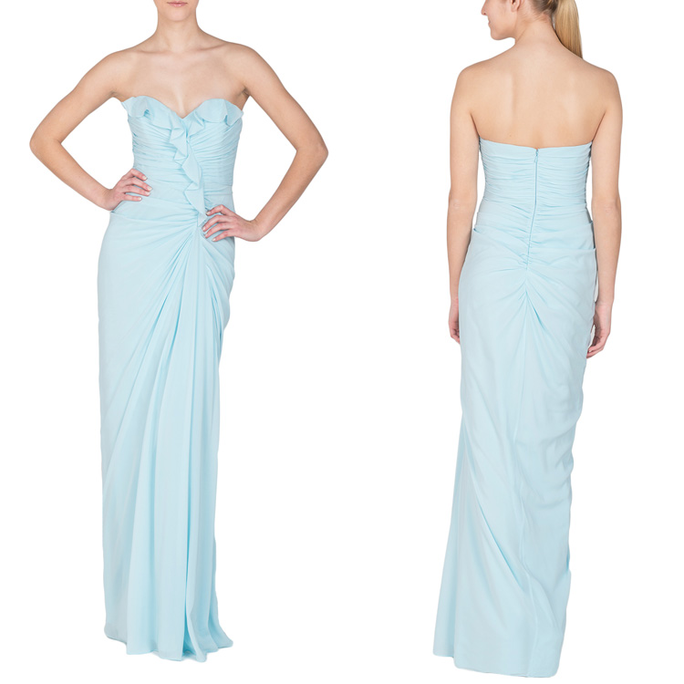 Top Quality Customized Strapless Ruffle Wrap Dress Formal Evening Gowns