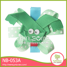Green frog shape wholesale hair bows for girls