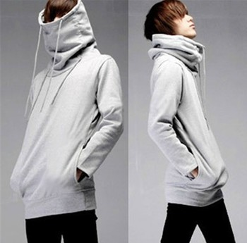 Mens High Chimney Collar Sweatshirt French Terry Fabric