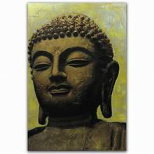 Hot selling handpainted 3d buddha head canvas art oil painting gallery