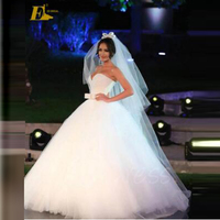 ED Bridal Luxury Stunning Ball Gown Sweetheart Neckline Beaded Bow Sash Long Alibaba Wedding Dress 2017