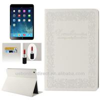 Embossing Decorative Pattern stand flip leather case for ipad 5/ipad air with 2-gear Holder & Credit Card Slots & Mirror
