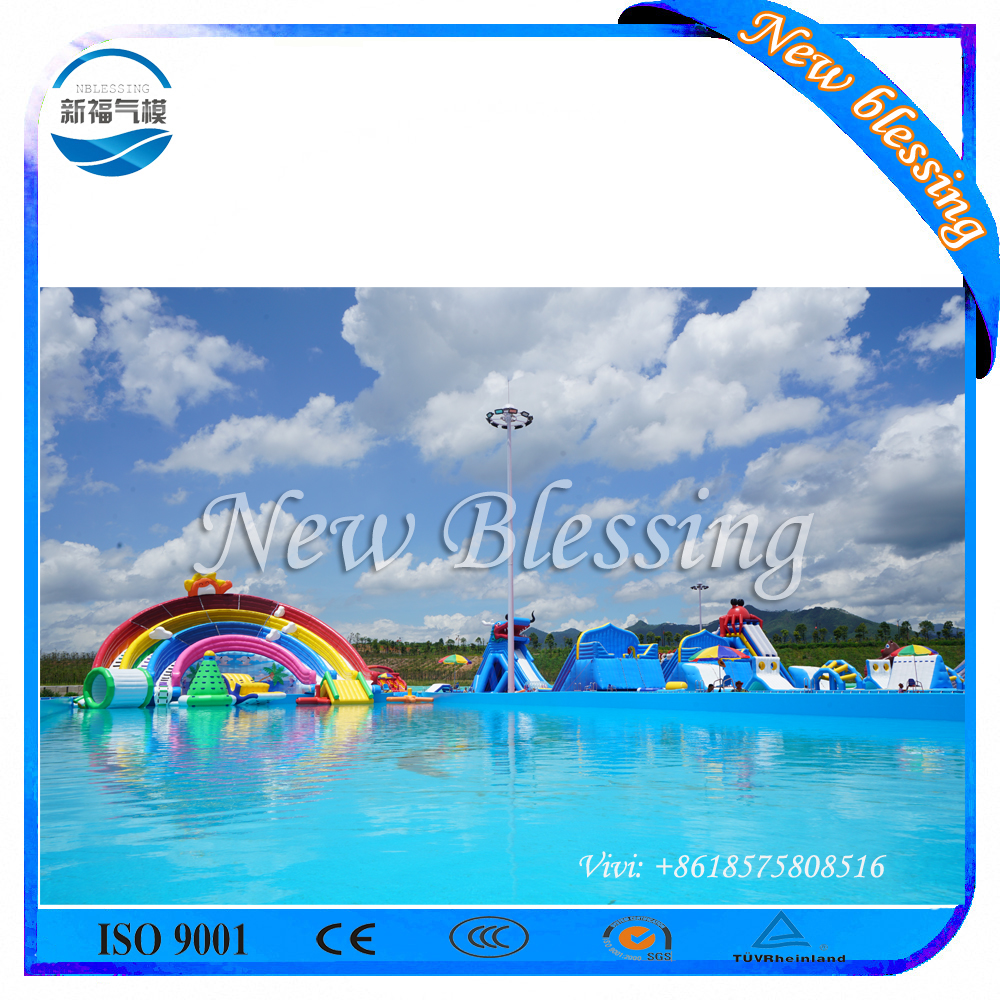 Commercial grade rainbow inflatable water slide, big slides for sale
