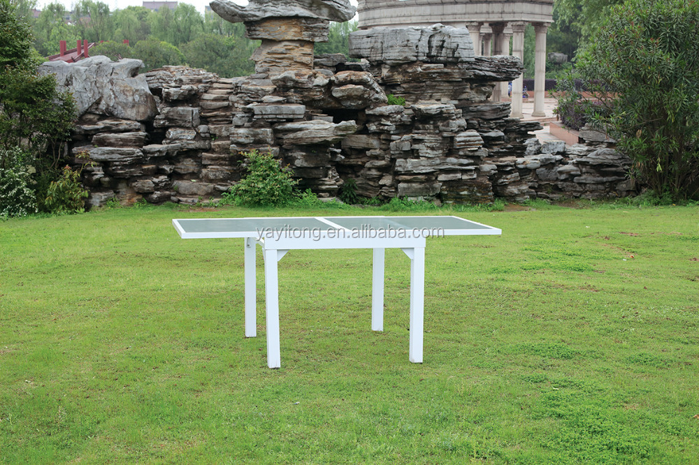 Garden patio dinning sets yard square aluminum stretching dinner table with waterwave glass