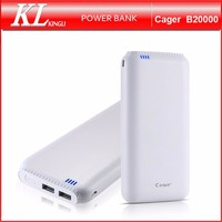 Cager B20000 High Quality Portable External Battery Power Bank 20000mAh OEM/ODM Logo