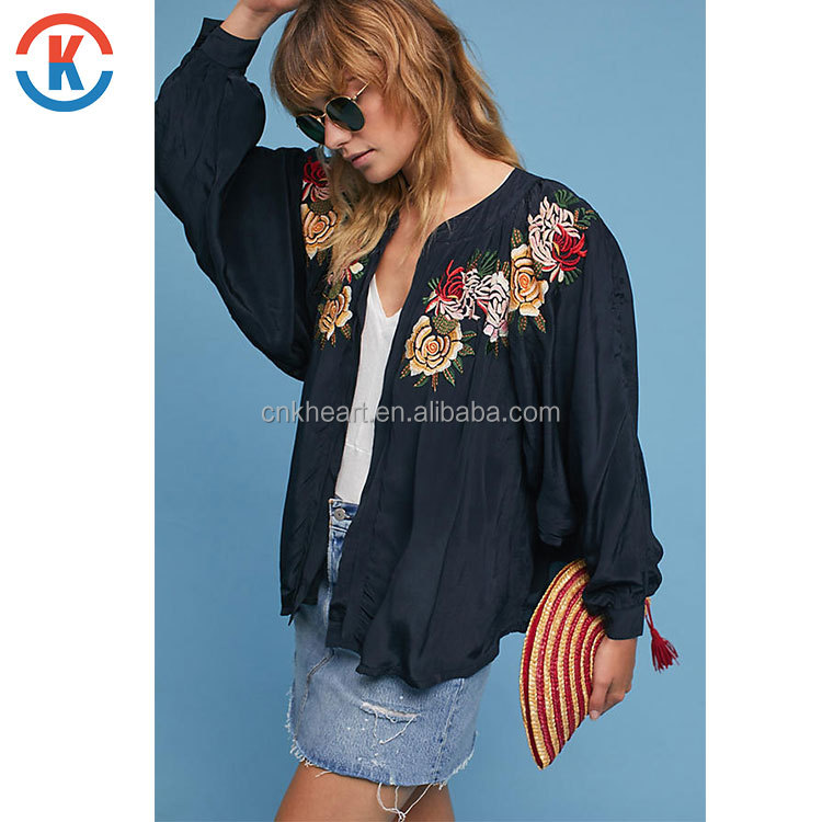 Promotional high quality women blue Viscose Batwing Jacket