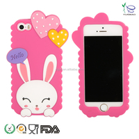 love heart rabbit wholesale silicone mobile phone case for l phone 5
