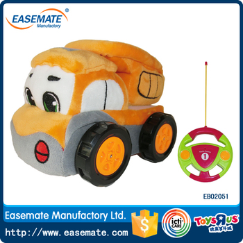 High quality soft plush detachable 2CH rc car engineering car toys with soft flexible Antenna-plush materials