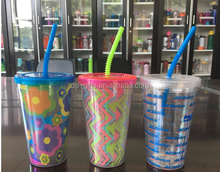 new style AS Transparent Double wall Tumbler with straw