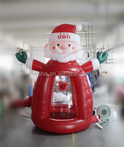inflatable Santa Claus money booth for Christmas decorations