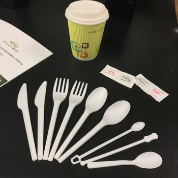 Manufacturer of diposable biodegradable CPLA cutlery set knife fork spoon