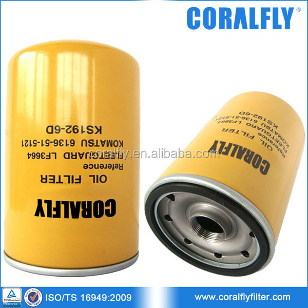 Engine 6D105-1 SAA6D108 Oil Filter 6136-51-5121 6136-51-5120