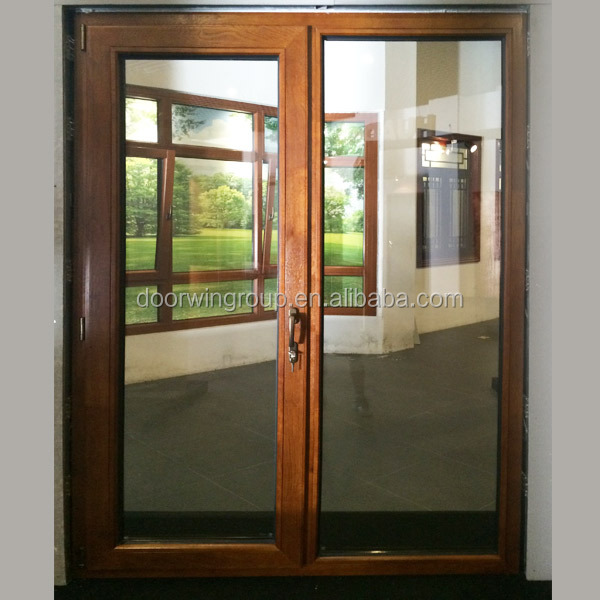 High Quality Themalbreak <strong>Aluminum</strong> with interior <strong>Oak</strong> Wood Cladding French Door