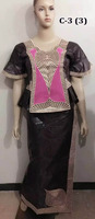 C-3(7) Fashion design african lady dress bazin clothes embroidery bazin dresses for women