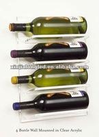 4 Bottle Wall Mounted Clear Acrylic Wine Rack