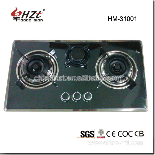 Tempered glass built-in cast iron 3 burner gas cooktop/gas stove