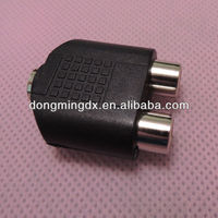 Audio system black 3.5 female to RCA female connector adapter 2 to 1