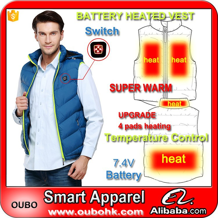 Padded vest for men winter fashion sleeveless down vest 4 Carbon fiber heating pads battery heated vest outdoor warm OUBOHK