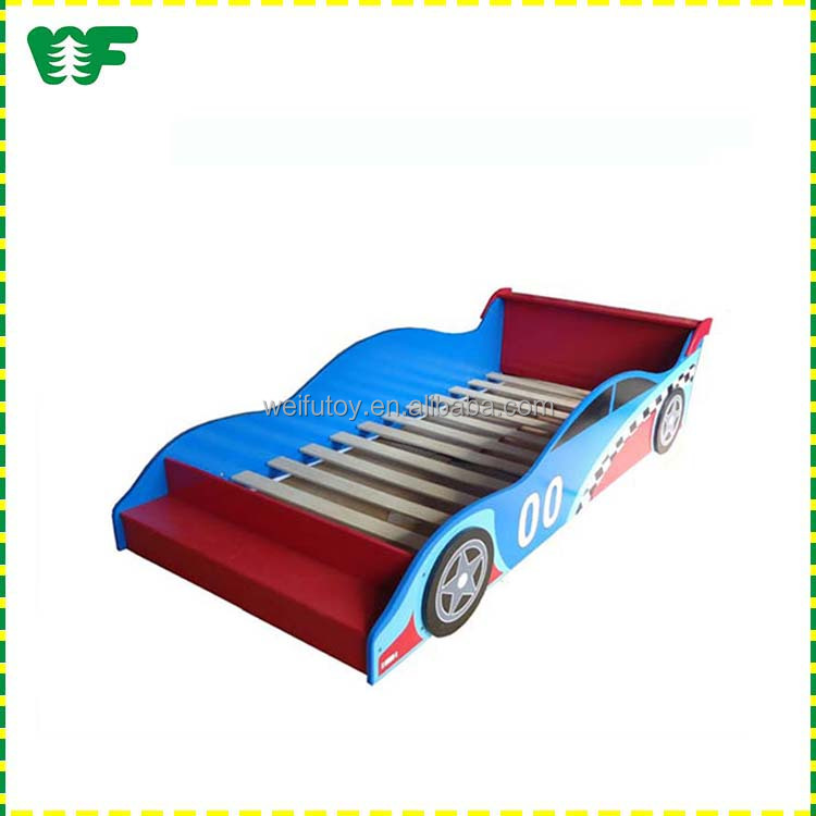 wooden full size racing children and kids toddler car shape bed for sale