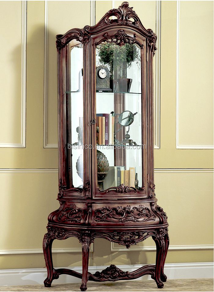 Black Walnut Color European Baroque Wooden Hand Carved Wine Display Cabinet With Drawers in Base