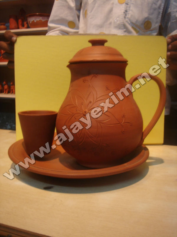Terracotta Clay Jug & Tumbler