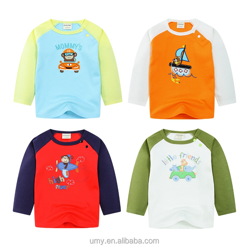 2016 Kid Wholesale Clothes Raglan sleeve with Contrast Color T-shirt
