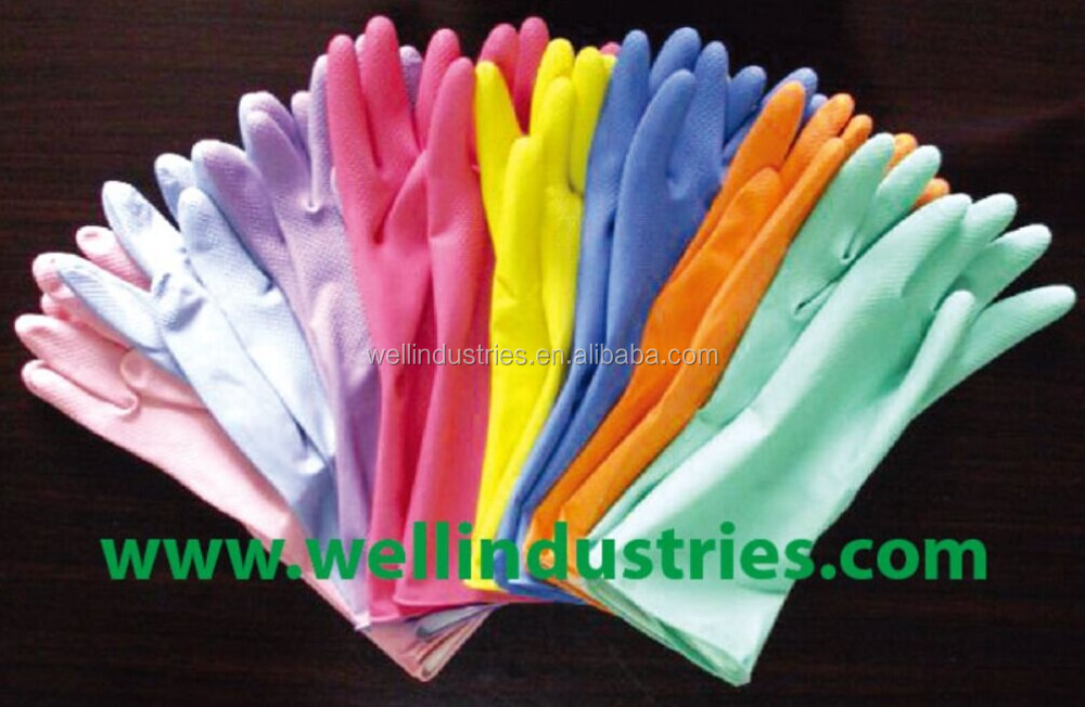 Cotton lined Colored Latex Household Gloves, Colored Rubber gloves
