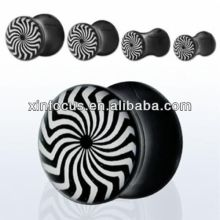 Acrylic Double Saddle Flared Swirl Ear Plugs Gauges