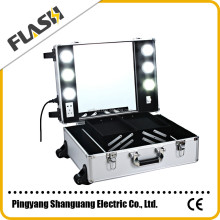Professional beauty makeup vanity case/trolley makeup box with lighted mirror