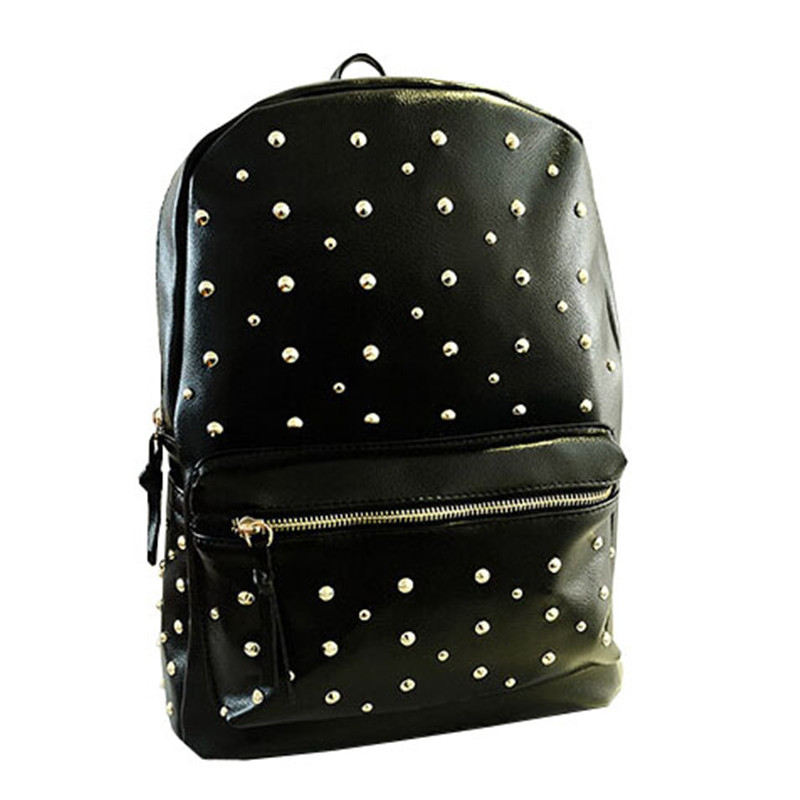 New 2015 Korean Women Backpack Fashion Casual Rivets Backpack Solid Preppy Style Bags Size 36*28*13cm OS-AY-083