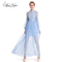 Maxnegio new model girl long sleeve lace maxi evening dress