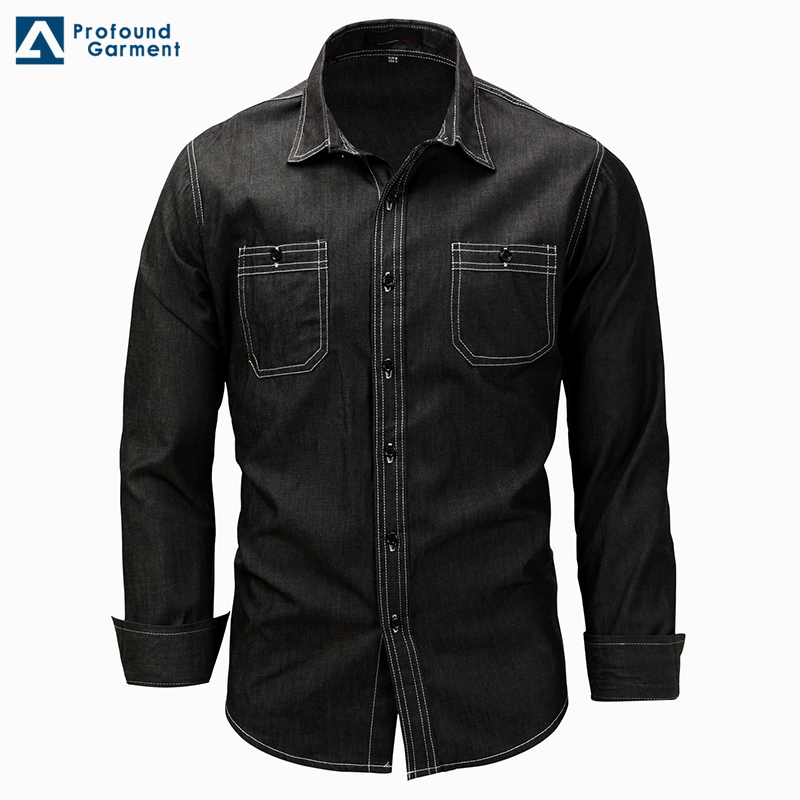 Factory price washed long sleeves denim men jeans model man black <strong>shirt</strong>