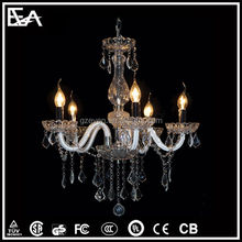 Candle shape crystal+chrome hanging light for Restaurant/hotel decoration