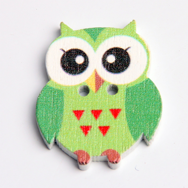 Large discount 25X20X3MM small wholesale cartoon owl wooden buttons large mixed diy accessories 50 pcs