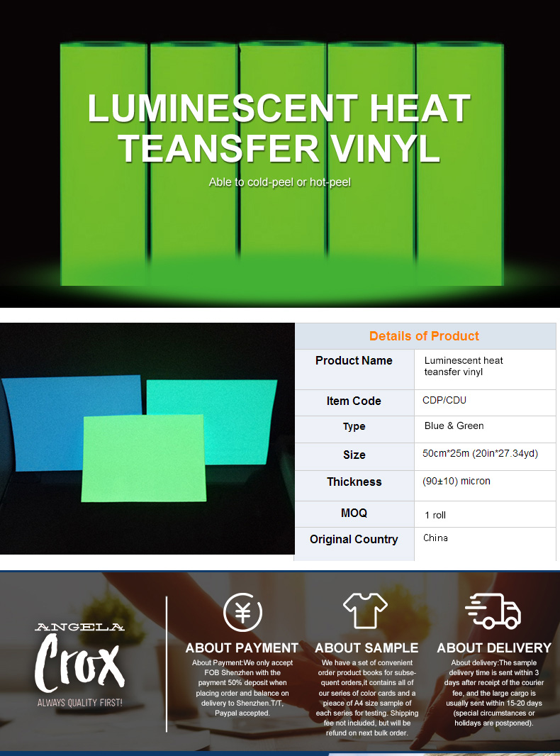 PU Luminescenti grow in dark Termico Vinile per L'indumento fasion