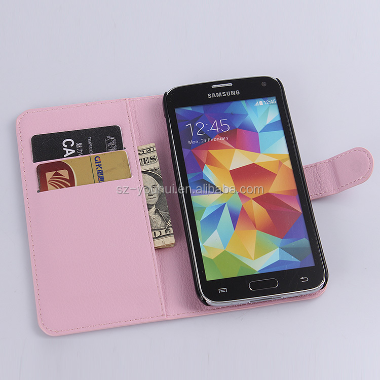 Hot Selling Ultra Thin Lichee PU Leather Case Wallet Folio Flip Cover for Samsung S5 i9600